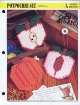 Potpourri Set Apple Peach Pumpkin Annie's Plastic Canvas Pattern NEW - $0.90