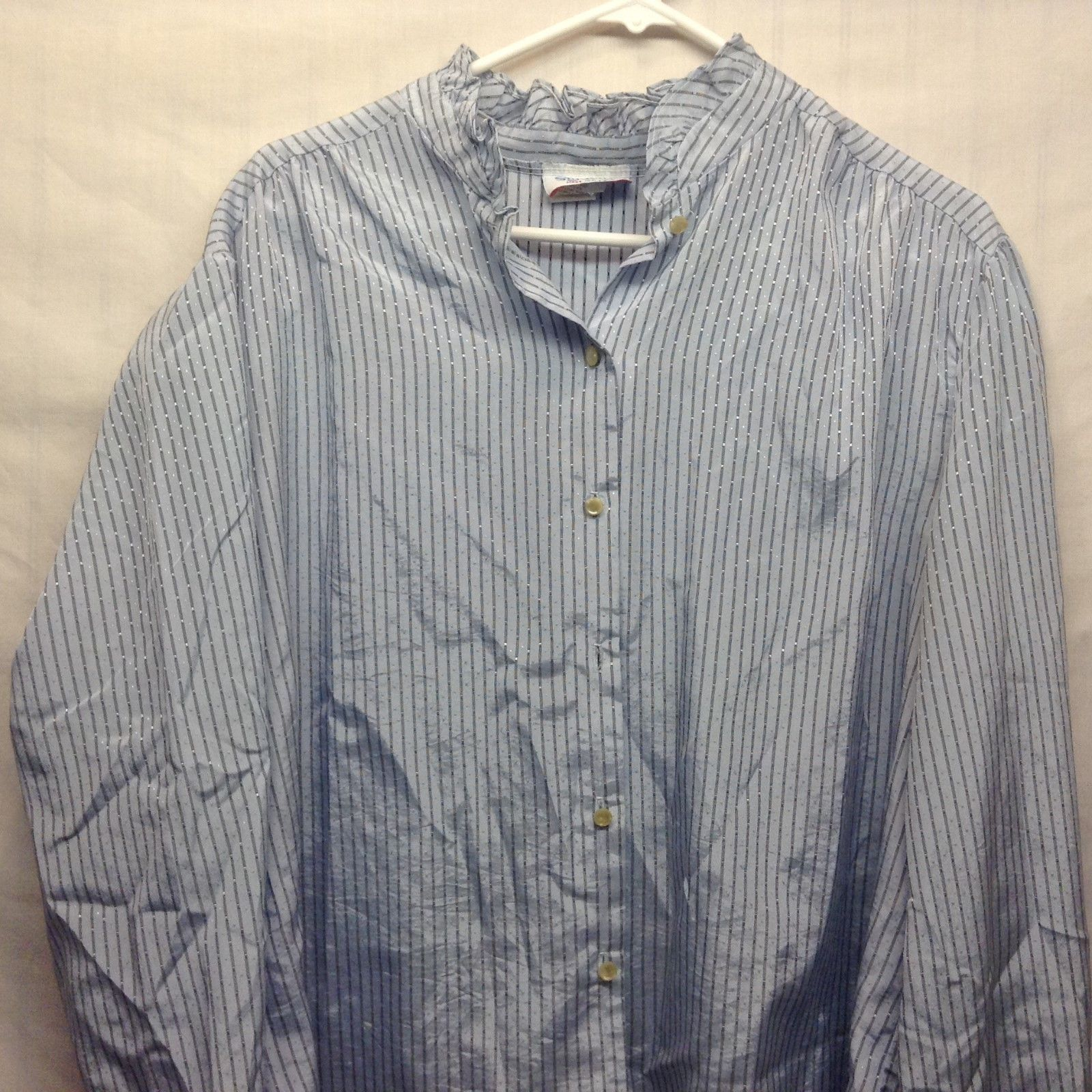 Ladies Styletrix Baby Blue w Black White Verical Stripe Button Up Shirt Sz 44