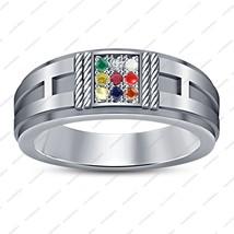 14k White Gold Finish 925 Silver Multi-Color Stone Men's Ring Navratna Jewelry - £57.98 GBP