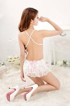 PL011 Sexy floral lace dress, open shoulder, free size, white - $18.80