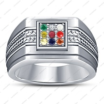 Round Cut Multi-Color 14k White Gold Plated 925 Silver Navratna Men's Ba... - $84.99