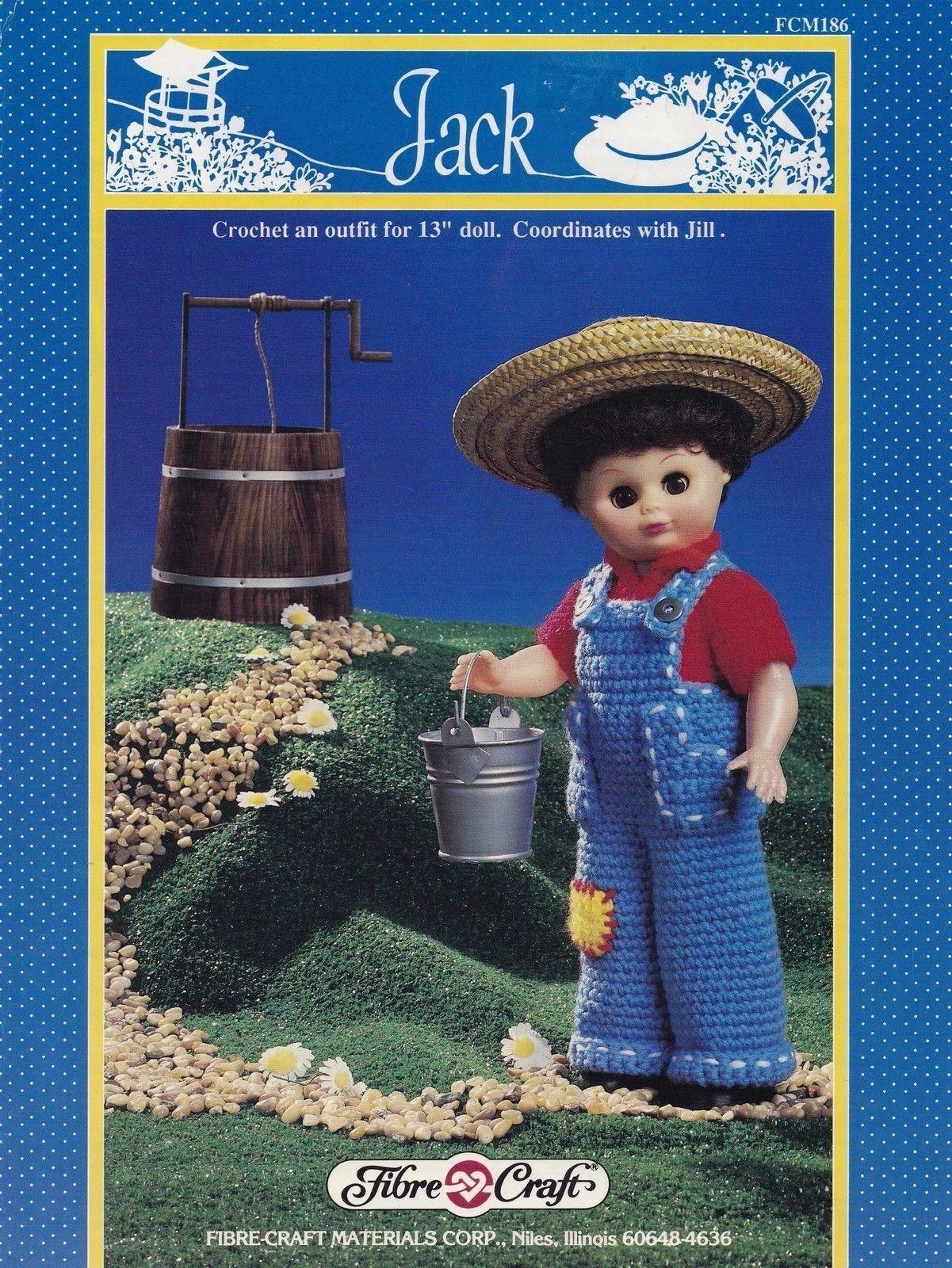 Jack, Fibre Craft 13 inch Male Doll Clothes Crochet Pattern Booklet FCM186