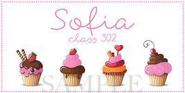 Cupcake Sticker - Personalized and Waterproof for Back to School Supplies! - $1.50