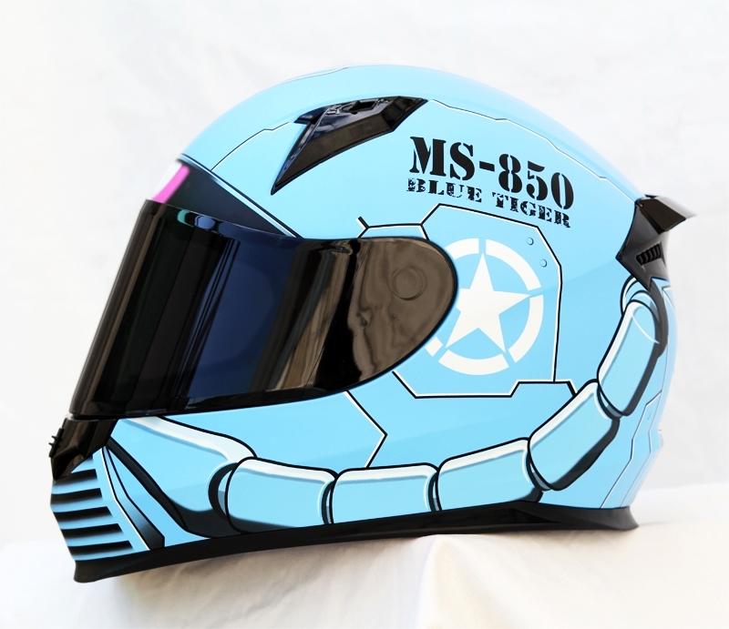 Masei 850 Matt Blue Zaku Gundam Motorcycle Helmet