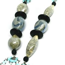 """NECKLACE BLACK, BLUE SPOTTED DROP OVAL MURANO GLASS, MULTI WIRES, 90cm 35"""" LONG image 3"""