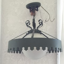 Vintage 60s Cast Iron Green Chandelier Chain Hanging Light Complete with... - $51.73