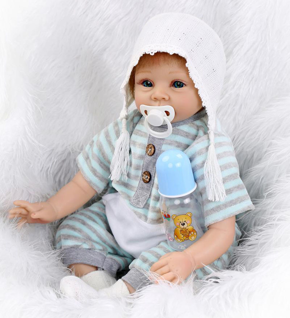 22inch Silicone Reborn Baby Alive Doll With Kits Soft