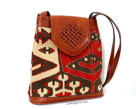 Yun Art Blanket Wool and Leather Shoulder Bag Red Brown - $36.00