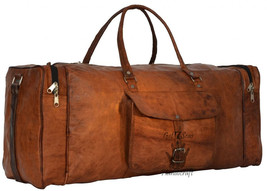 Men's Brown aircabin Vintage Leather overnight Travel Luggage Duffle Gym... - $91.07