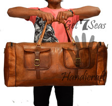 Big Leather handmade travel luggage vintage overnight weekend duffel Gym... - $114.55