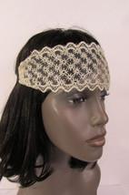 New Women Elastic Fabric Fashion Headband Mini Flowers Beige Black Lace ... - €8,05 EUR