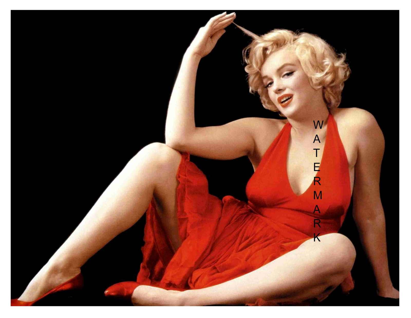 Primary image for Marilyn Monroe Vintage in Red 13 x 10 inch Beautiful Pinup Giclee CANVAS Print