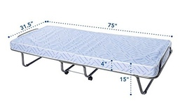Folding Cot Bed Rollaway Portable Mattress Hotel Guest Travel Sleeping M... - $209.00