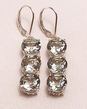 Green Amethyst Prasiolite Sterling Silver Earrings 15.0 cttw MADE IN USA - $235.00