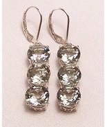 Green Amethyst Prasiolite Sterling Silver Earrings 15.0 cttw MADE IN USA - $235.00