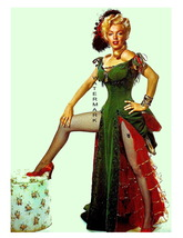 Marilyn Monroe in Green Sultry Cheesecake Pinup 11 x 8.5 In Giclee CANVA... - $14.95