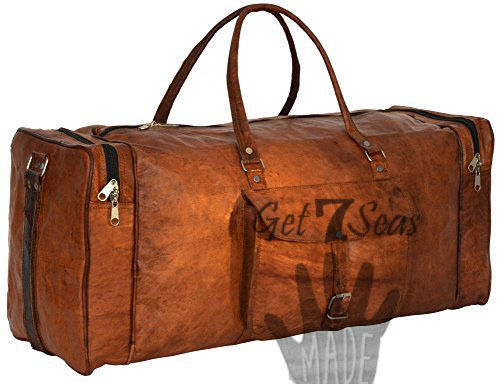 Men's Brown aircabin Vintage Leather overnight Travel Luggage Duffle Gym Bag image 2