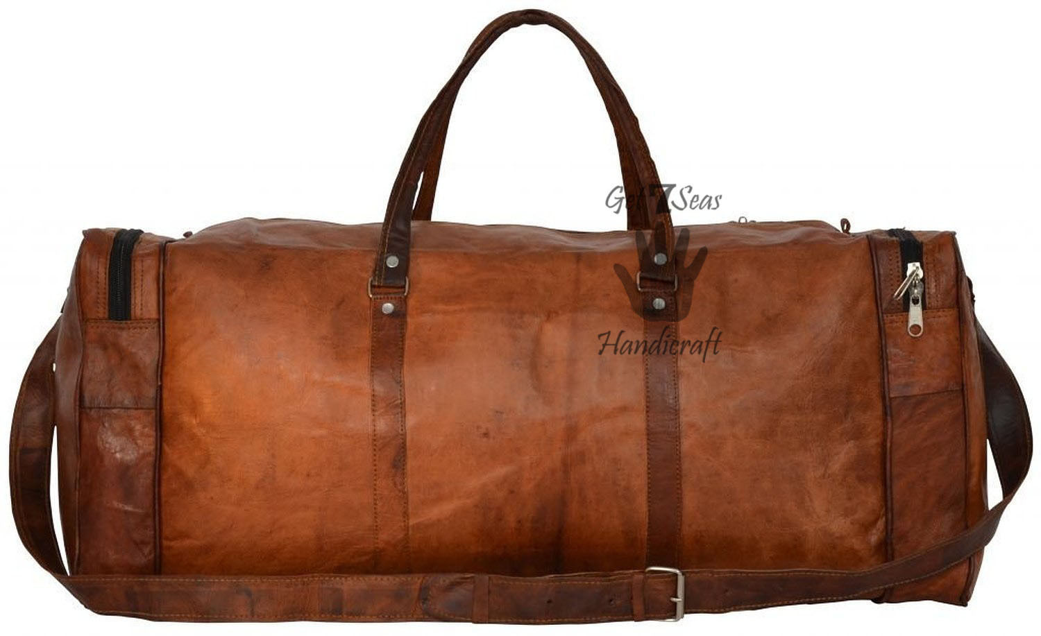 Men's Brown aircabin Vintage Leather overnight Travel Luggage Duffle Gym Bag image 4