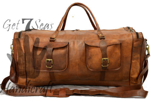 Big Leather handmade travel luggage vintage overnight weekend duffel Gym Bag