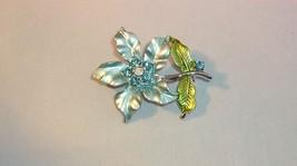 Vintage Light Blue Rhinestone Flower Pin Brooch Silvertone Metal Aqua Green - $4.95