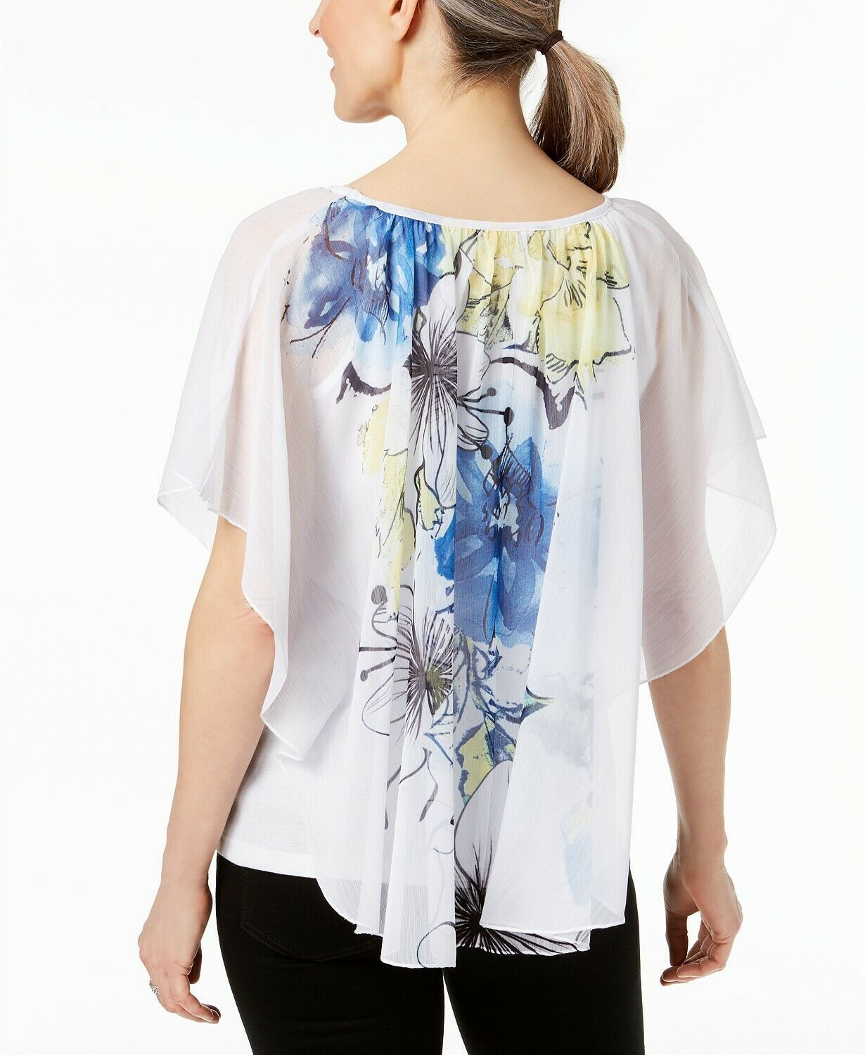 JM Collection WOMEN'S  Printed Poncho Blouse, WHITE MULTI SIZE XXL MSRP$49.50