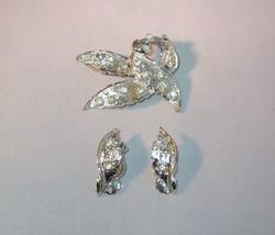 Vintage Rhinestone Leafy Pin Brooch Clip On Earrings Set Silvertone Text... - $6.95