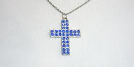 Vintage Royal Blue Rhinestone Cross Pendant Necklace Silvertone - $4.95