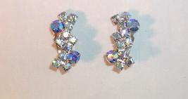 Vintage Light and Dark Blue Aurora Borealis Rhinestone Clip Earrings Sil... - $5.95