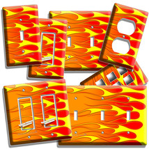 Hot Rod Red Yellow Orange Flames Light Switch Outlet Wall Plate Cover Garage Art - $9.99+