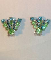 Vintage Rhinestone Clip On Earrings Light Blue Light Green Silvertone - $4.95