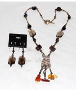 Smokey Night-Ancient Recycled Ceramic Sherd, Amber and Smokey Quartz Nec... - $254.00