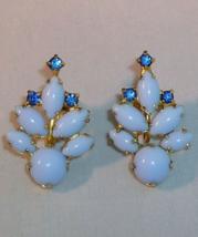Vintage Pale Blue Beads Blue Rhinestone Screwback Earrings Goldtone - $4.95