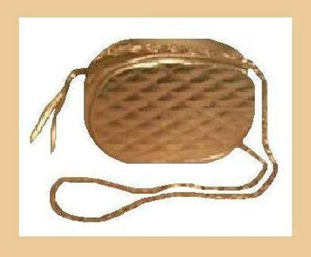 Primary image for Gold Metallic & Soft Leather Gold Chain Oval Purse Handbag Evening Bag