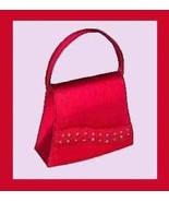 FIRE RED Satin & Beads White Rhinestone Beaded Purse Handbag Evening Bag - $19.99