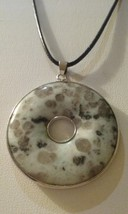 Genuine Natural Kiwi Jasper Gemstone Donut Style Pendant On Black Cord  - $11.99