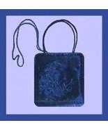 Royal Blue Satin & Embroidered Leaf Design Handmade Purse Evening Bag Ha... - $19.99