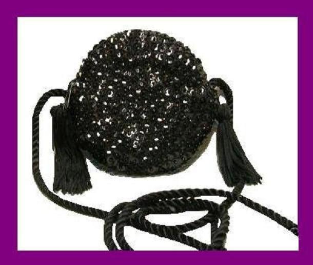 Primary image for Black Sequins Beads Silky Tassels Braided Strap Round Purse Handbag Evening Bag