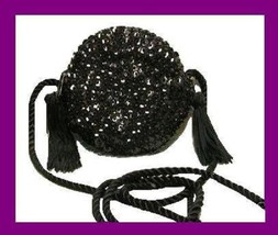 Black Sequins Beads Silky Tassels Braided Strap Round Purse Handbag Even... - $19.99