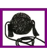 Black Sequins Beads Silky Tassels Braided Strap Round Purse Handbag Even... - $19.99