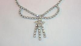 Vintage Clear Rhinestone Choker Necklace Dangling Strands Swag Silvertone - $6.95