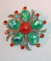Vintage Marcasite Pin Brooch Red Rhinestones Red Green Plastic Pebbles B... - $6.95