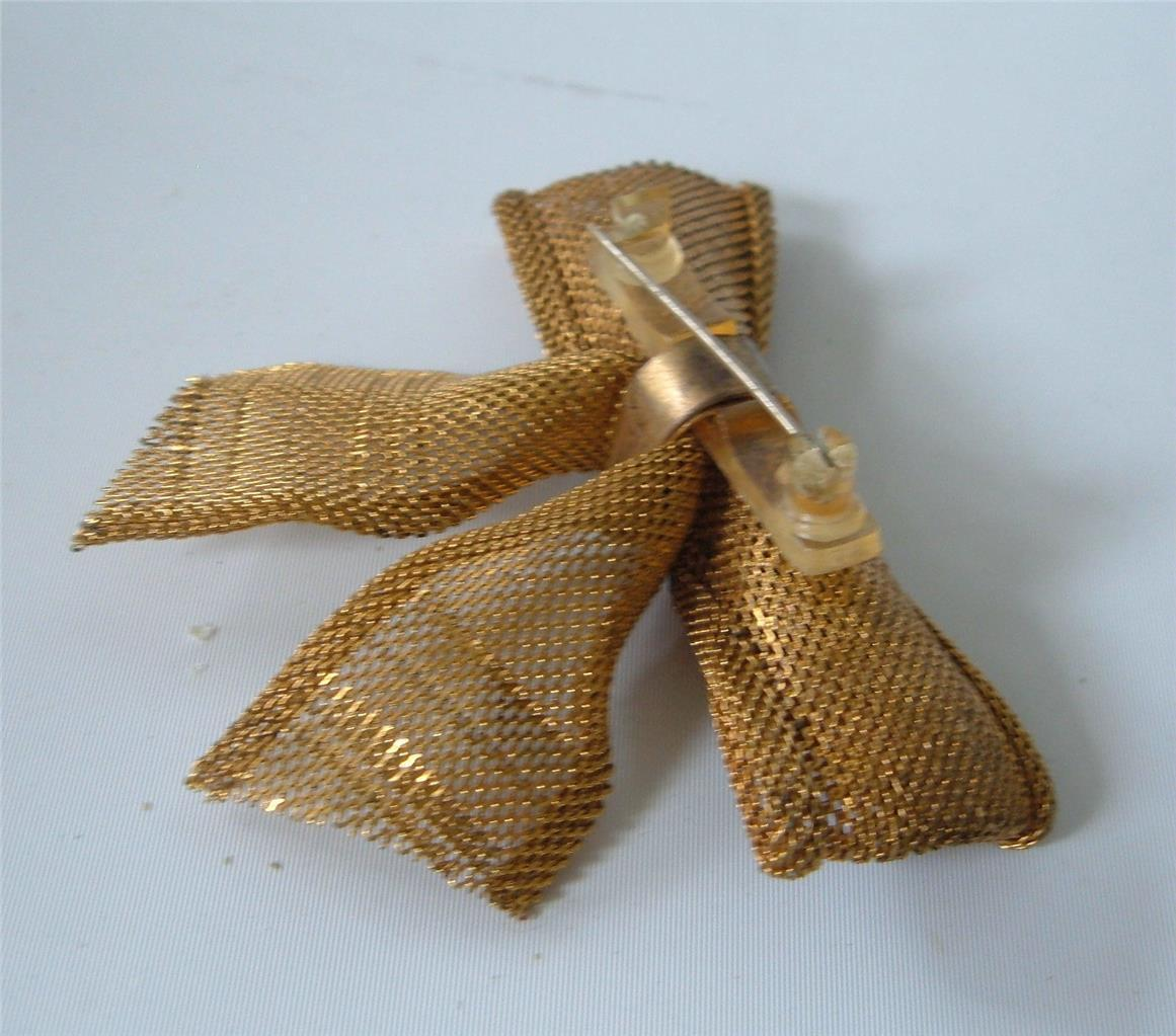 Vintage Gilt Brass Mesh Bow Brooch Pin Celluloid Gold