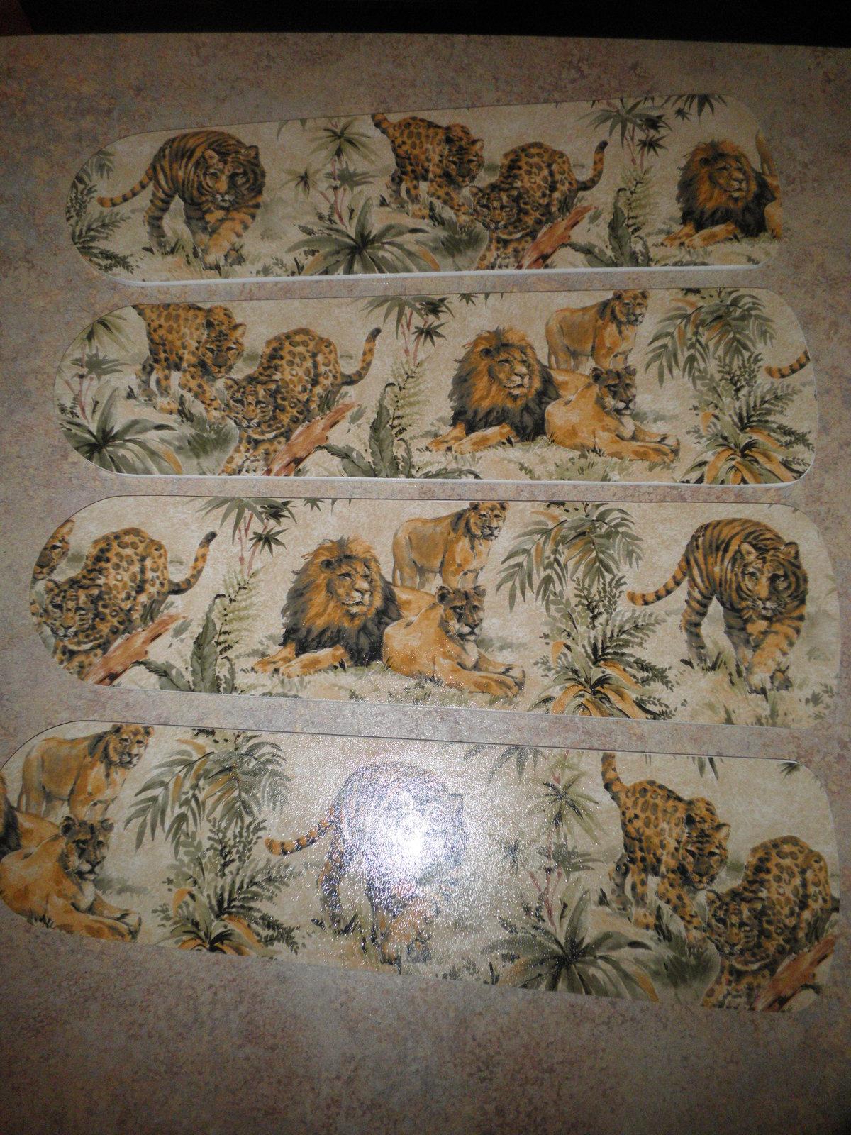 CUSTOM LEOPARD LION & TIGER JUNGLE CATS CEILING FAN w/LIGHT
