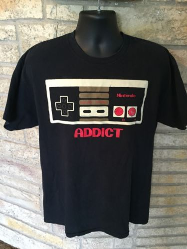 Primary image for Official Nintendo NES Addict Black T-Shirt Game Controller Old School SZ Large.