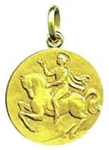 SOLID 18K YELLOW GOLD ROUND MEDAL, SAINT VALENTINE, DIAMETER 17mm image 1