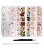 Wokoto 4Pcs Nail Crystals And Rhinestones Rose Gold Metal Stud Nail Art ... - $16.82
