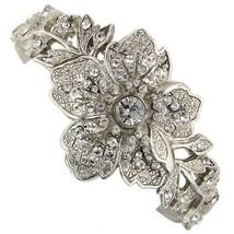 1928 Jewelry Silver Tone Vintage Floral Hinge Bracelet Free Same Day Shi... - $84.03