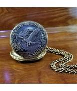 Vintage Majestron Silver & Gold 3D Embossed Eagle Pocket Watch 48MM - $79.95