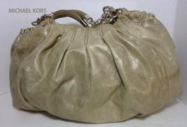 MICHAEL KORS Silver Distressed Leather Hobo Handbag Purse - $54.44
