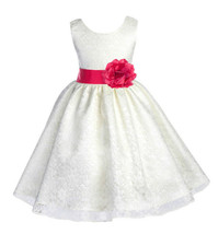 (Updated) Wedding Floral Lace Overlay ivory Flower Girl Dress Pageant 163s - $38.99